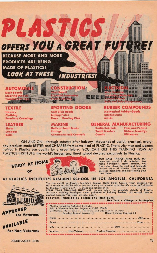 An advertisement in the February 1948 issue of Popular Mechanics